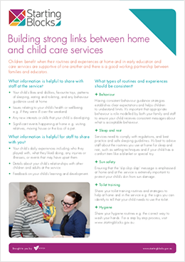 Fact Sheet Starting Blocks Building strong links between home and childcare