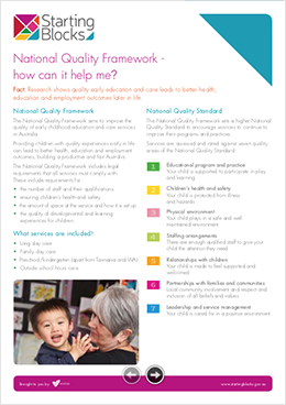 Fact Sheet Starting Blocks How can the NQF help me