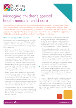 Fact Sheet Starting Blocks Managing childrens special health needs in childcare