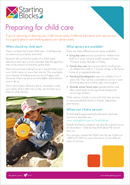 Fact Sheet Starting Blocks Preparing for childcare