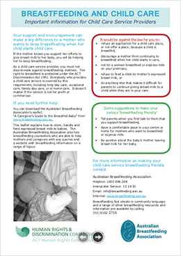 FactSheet Breastfeeding and Childcare