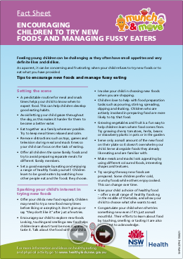 Fact Sheet Encouraging children to try new foods and managing fussy eaters