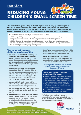 Fact Sheet Reducing young childrens small screen time
