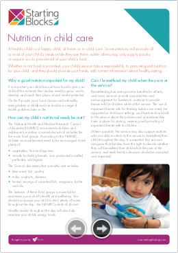 Fact Sheet Starting Blocks Nutrition in childcare